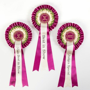 Set of 3 Luxury Rosettes Best in Show, Reserve Best in Show & Judges Special